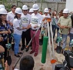 Cebu City Mayor Michael Rama leads the lowering of the time capsule during the groundbreaking ceremony of the new Cebu City Medical Center yesterday.  With him are  Cebu City Councilor Mary Ann delos Santos, Vice Mayor Edgardo Labella and Councilor Dave Tumulak. (CDN PHOTO/LITO TECSON)